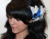 Bridal White Goose Feather with Natural peacock Feather Royal Blue Boutique Hair Clip Fascinator Photp Prop
