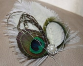 Ivory Goose, Natual Peacock Feather and Ostrich Feather with Green Accents Boutique Bridal Hair Clip Fascinator Photo Prop