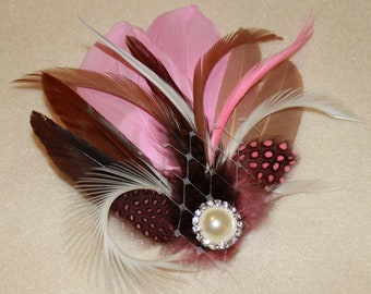 Chocolate Brown Pink and Beige Goose Feather Boutique Bridal Hair Clip Fascinator Photp Prop