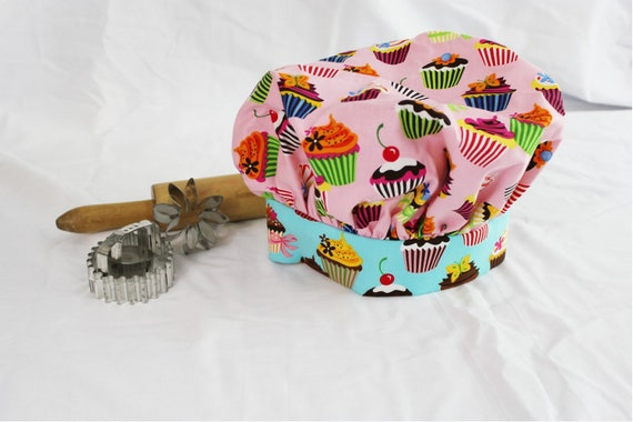 Retro Pink and Teal Cupcake Child Chef Hat - Adjustable
