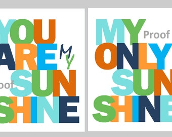 """You are my sunshine 2-11x14"""" prints, great for nursery, or playroom, or as a gift, matches boy or girl decor"""