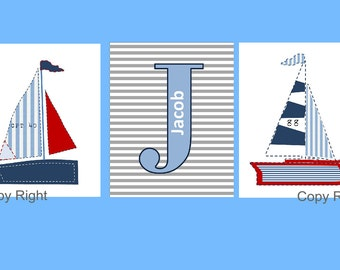 "Nautical Nursery Art // Personalized Art for Kids // Nautical Art for Kids // Sailboat Art // Nautical Nursery Decor // 3-5x7"" PRINTS ONLY"