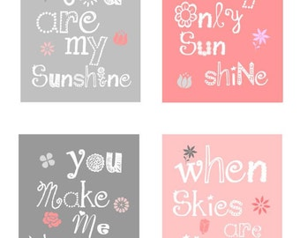 Pink amd Gray Nursery Decor // You Are My Sunshine Art Prints // Flower Art for Girls // Pink Nursery Art // 4-8x10 PRINTS ONLY Unframed