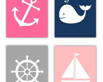 Girl Nautical Nursery Art Prints // Nautical Wall Art for Girls // Nautical Nursery Decor // Pink and Navy Nursery Art // 4-8x10 PRINTS ONLY