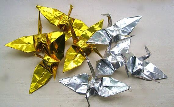 """1000 6"""" foil silver origami cranes"""