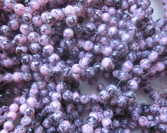 SALE - Pink and Black Glass Beads 6mm 30 Beads
