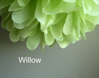 1 Willow Tissue Paper Pom Pom, Willow green pom pom, wedding poms, nursery decor, bridal shower pom pom