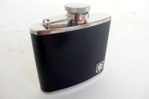 vintage leather whiskey hip flask