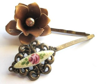 Wedding Hair Accessories Vintage Hairpins Flowers Brown Bobby Pins Clips Bridal