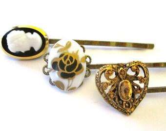 Victorian Cameo Hairpins Accessories Black Bridal Gold Fashion Clips Handmade