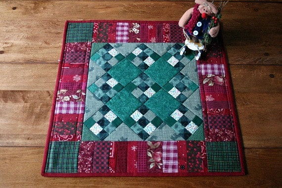 Items similar to traditional patchwork quilted table quilt