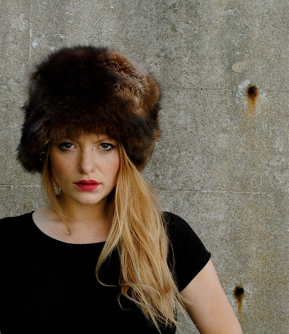 Luxury faux fur Russian hat with gold and turquoise lining. Doctor Zhivago Hat