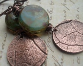 Copper Leaf Earrings RESERVED for shahmainhami