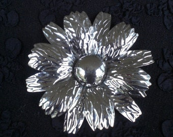 Vintage Silver Tone Flower Statement Brooch 1960s to 1970s Pin Huge Large