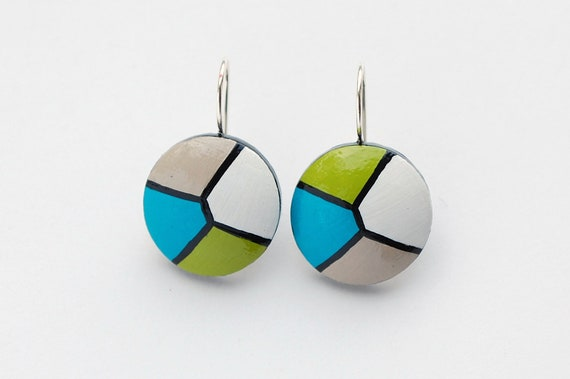 GEOMETRICAL - Hand painted wooden earrings