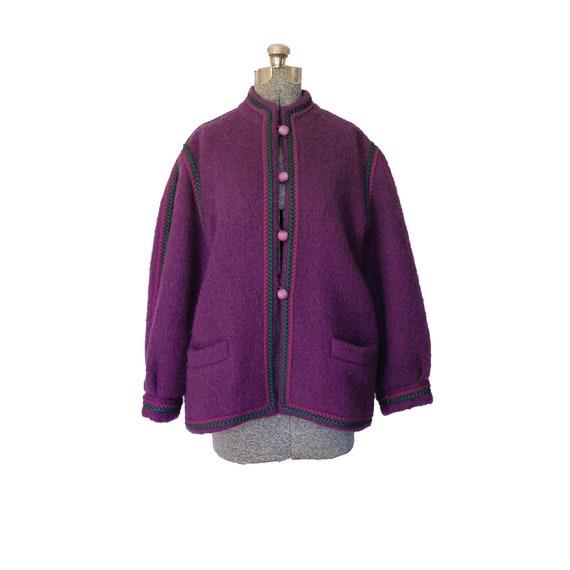 Yves Saint Laurent Jacket - YSL Rive Gauche 1970s 70s Purple Wool Mohair Russian Peasant Coat Designer Couture Quality Medium