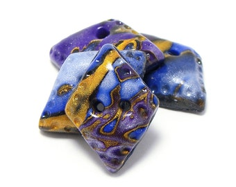 Polymer clay buttons small diamond shaped nebula purple blue gold set of four