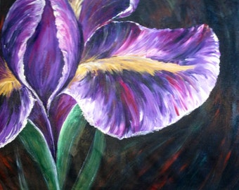 "SALE <<---- 30x25x3/4"" Original Modern Semi Impressonist Contemporary Abstract Iris Painting By Alisha"