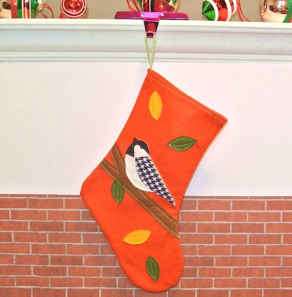 Chickadee Bird Christmas Stocking in Orange by Allenbrite Studio