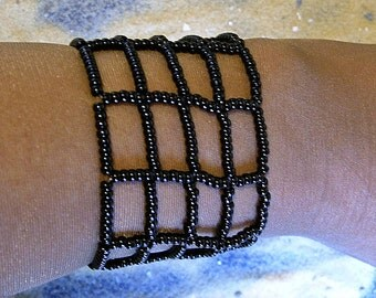 Beaded cuff in black. Egyptian beaded cuff. Egyptian revival.