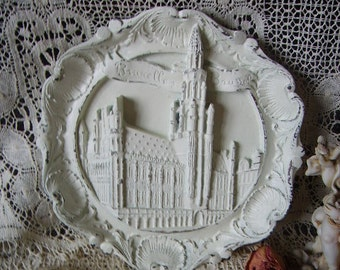 Shabby Carved Cathedral Medallion, Round, Painted Vintage, creamy white, rustic chic