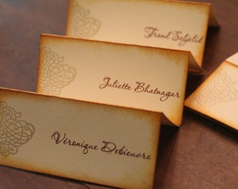 Wedding Place Cards, Gold Metallic, Ornate Swirl, Tent Style, Ivory Cardstock, Two-Tone Vintage Style