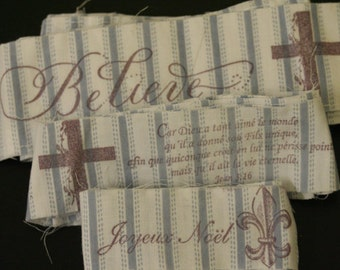 Fabric Ribbons, Merry Christmas, French, Blue, Scripture, Cross, Joyeux Noel, Variety Pack, Shabby Chic, Lavender, 3 1/2 Yards Total