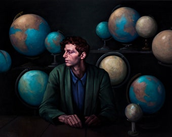 "painting man globe travel ""Sphere"""