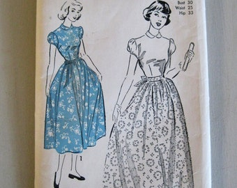1940s Dress Pattern, Advance 5169, Apron Dress Sewing Pattern, Ankle or Ballerina Length, Puff Sleeves, Contrast, Sz 12 Bust 30, UNUSED