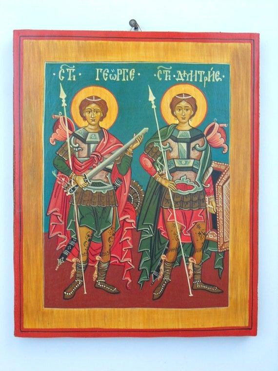 Saint George and Saint Demetrius,Romanian Byzantine Icon- Hand Painted Byzantine Icon Christian art Orthodox icon Gift for Godchild Baptisms