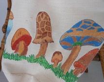 Shopping Market Bag Drawstring Hand Painted Mushrooms Butterflies