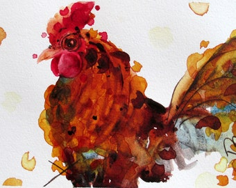 Rustic Country Farm Decor, Rooster Art, Original Watercolor Art Print