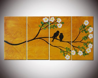 Art Painting Impasto Birds on Tree 24x48,  Large Four Panels, Textured Painting, Romantic Custom Art