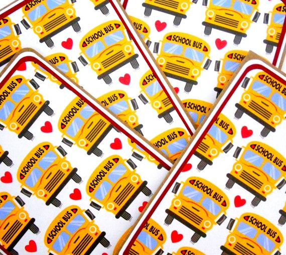 School Bus Blank Notecard Set of 4 with Matching Embellished Envelopes