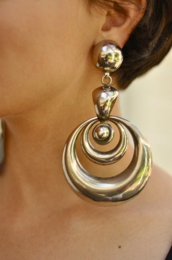 60's Mod Oversized Chandelier Earrings