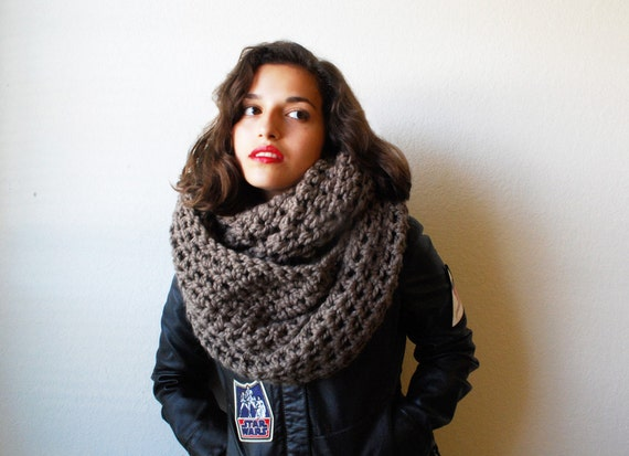 The Oversized Cowl or Hood Hand Knit in Taupe Wool Blend