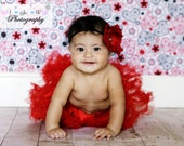 Red Flower Headband with petite vintage button center perfect for a Photo Shoot