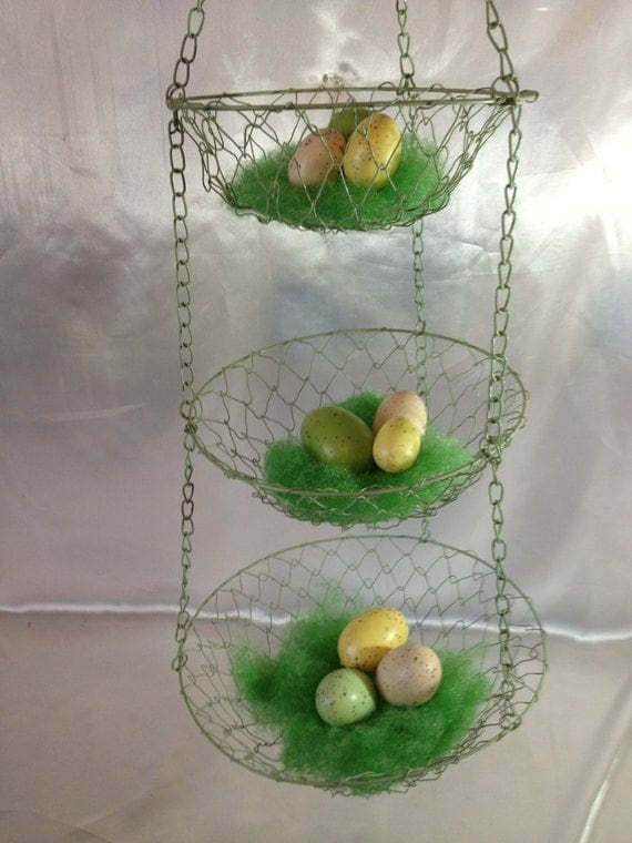Tiered Hanging Wire Basket Green Hanging Baskets Fruit Baskets