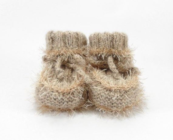Hand Knitted Baby Booties - Beige, 3 - 6 months