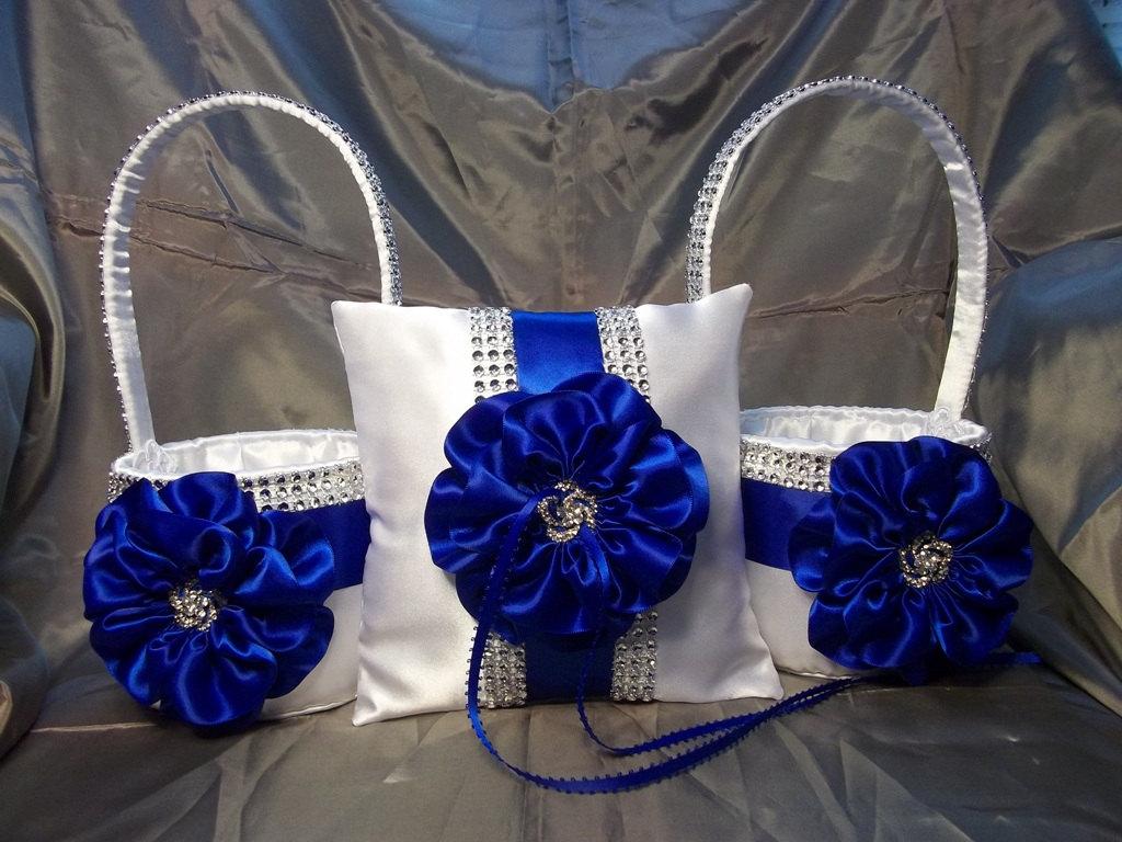 Satin wedding card box with royal blue flower and rhinestone mesh trim -  Zoom