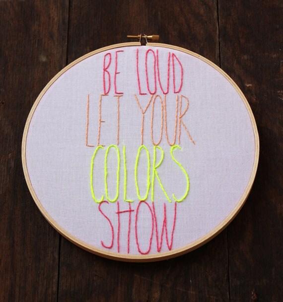 Avett Brothers Colorshow Lyrics Hand Embroidery