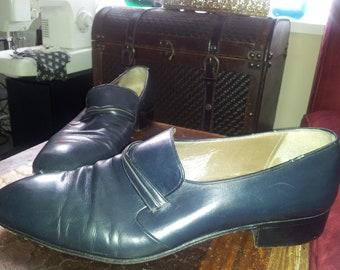 SALE 60s Sharp Vintage Blue Brogues Loafers shoes Very Mod Beatles Punk sz 8 men 10 women