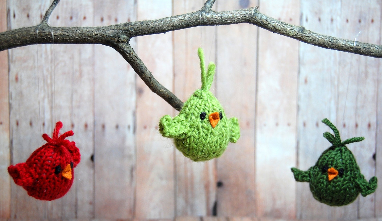 Bird ornament Knit Christmas Ornaments Holiday Decor Knit