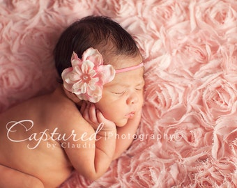 Delphinium Vintage Pale Light Pink Skinny Baby Headband. Pearl Flower headband Baby girl headbands. Photography prop Elastic