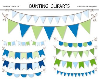 Bunting  clipart, pennant clip art, clipart for invitations, scrapbooking - 10 PNG files - INSTANT DOWNLOAD Pack 526