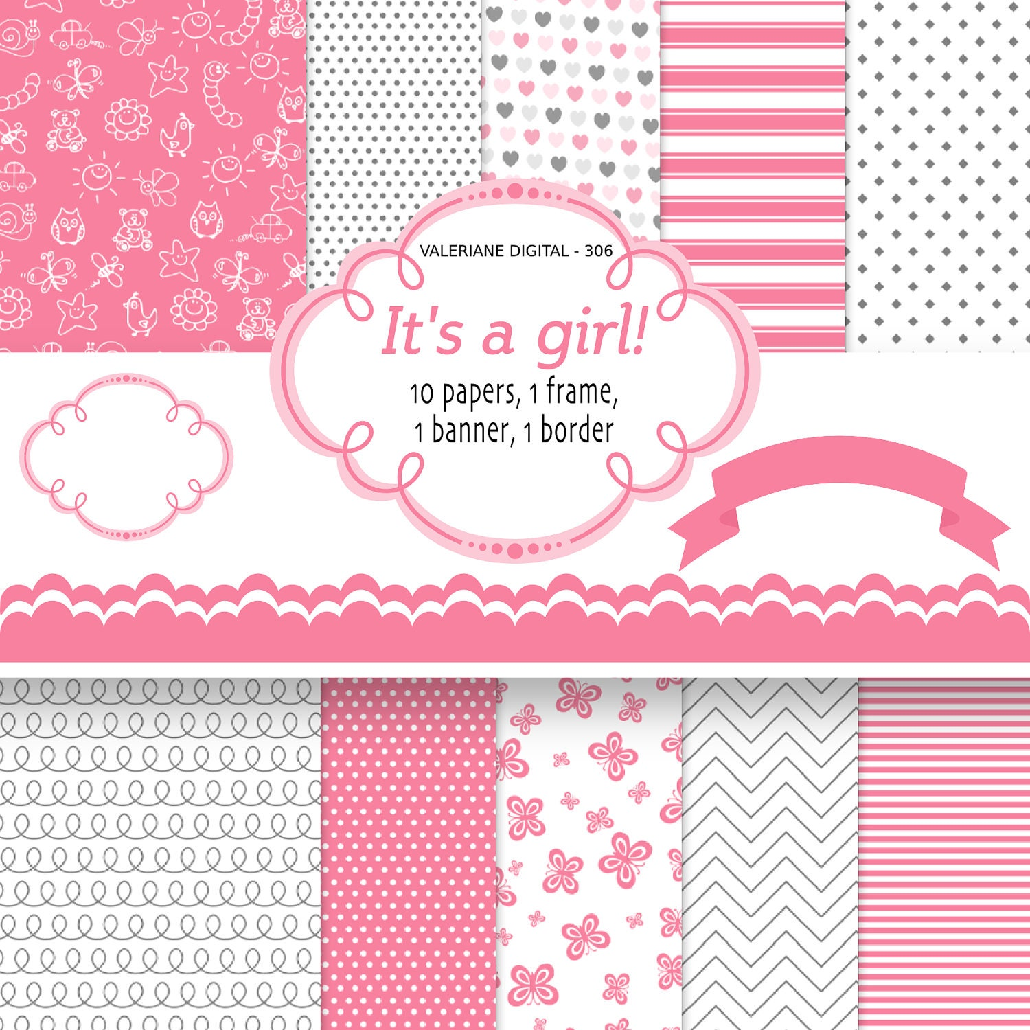 How to scrapbook for baby girl - Baby Girl Digital Paper Instant Download Pink Backgrounds For Scrapbooking Invitation Pink Digital Paper Pack 306