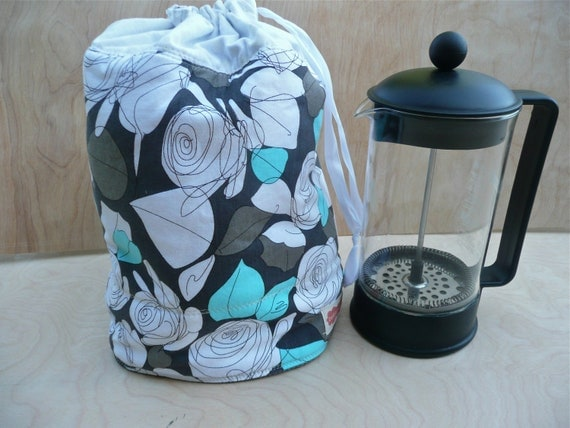 French Press Coffee Cozy - Reversible - Aqua, Gray, Black & White - Keeps Coffee HOT