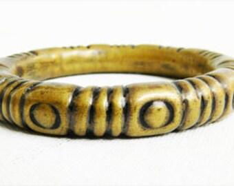 Antique Brass Plated Bangle Bracelet 1960s