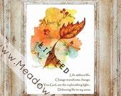 Christian Art Print Fall Leaf Autumn Vines Christian Word Art in 8.5 x 11