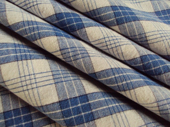 Vintage French Cotton Fabric Blue Check Plaid Suitable for Patchwork Quilting Lavender Bags Feedsack Pillow Napkins